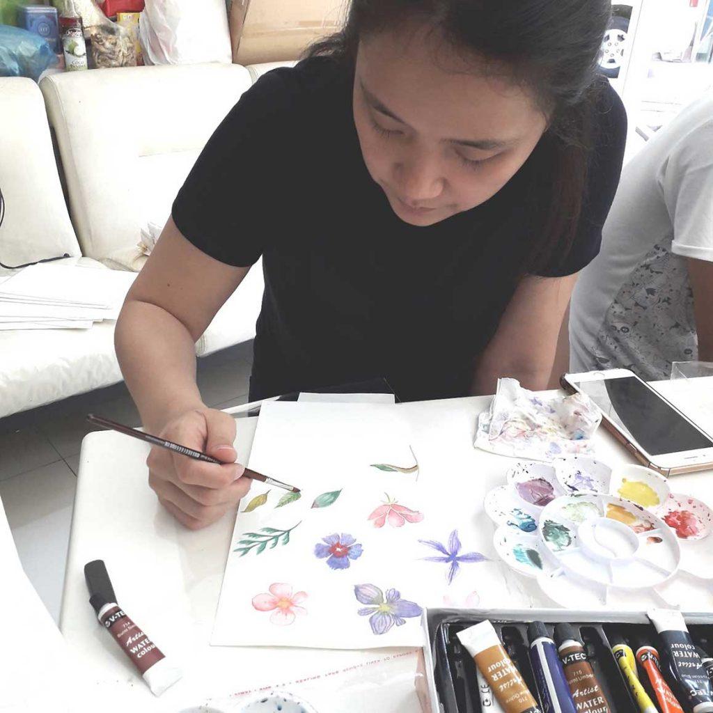 workshop surabaya melukis bunga