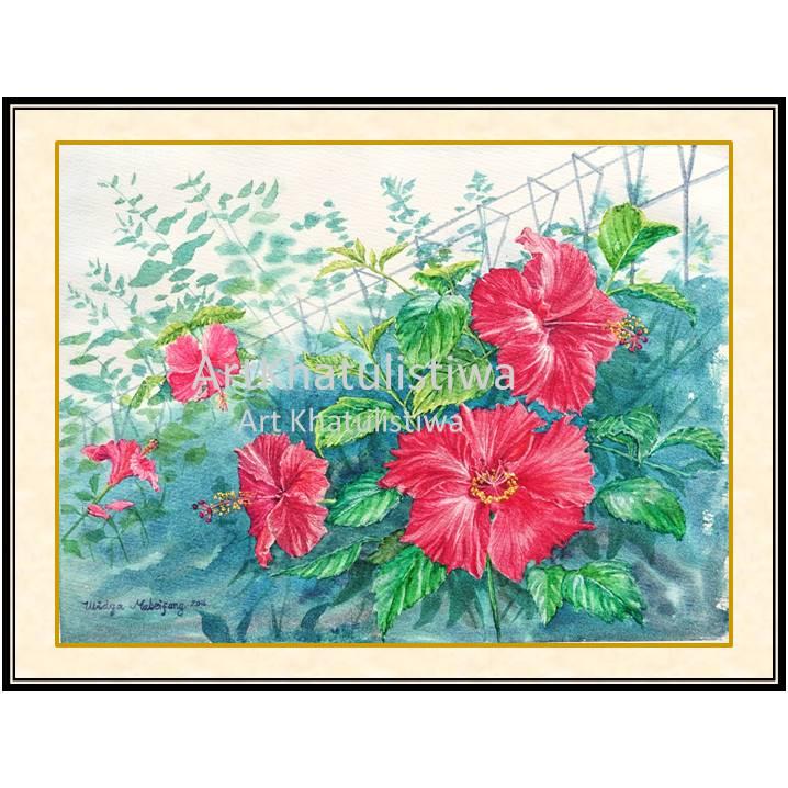 dijual lukisan bunga hibiscus 4004-1