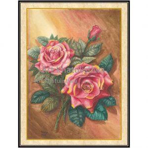 jual lukisan bunga mawar 4001-1