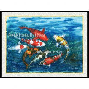 jual lukisan ikan koi 7010-1