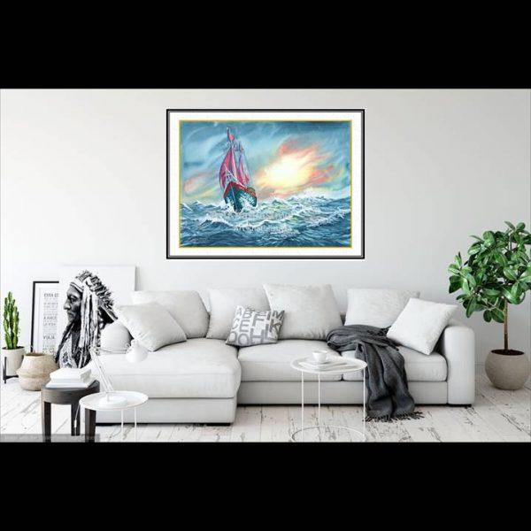 jual lukisan kapal pinisi 6003-1-2