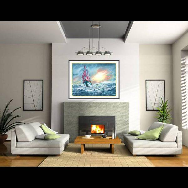 jual lukisan kapal pinisi 6003-1-3