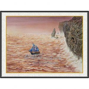 jual lukisan online kapal pinisi 6001-1