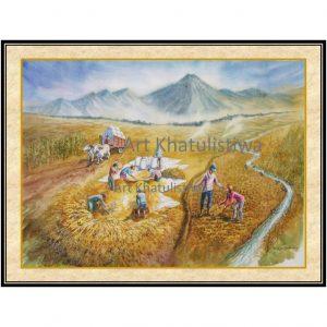 jual lukisan panen 1016-1