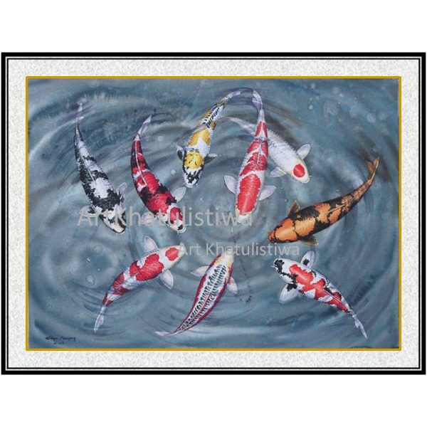 jual lukisan surabaya ikan koi 7011-1