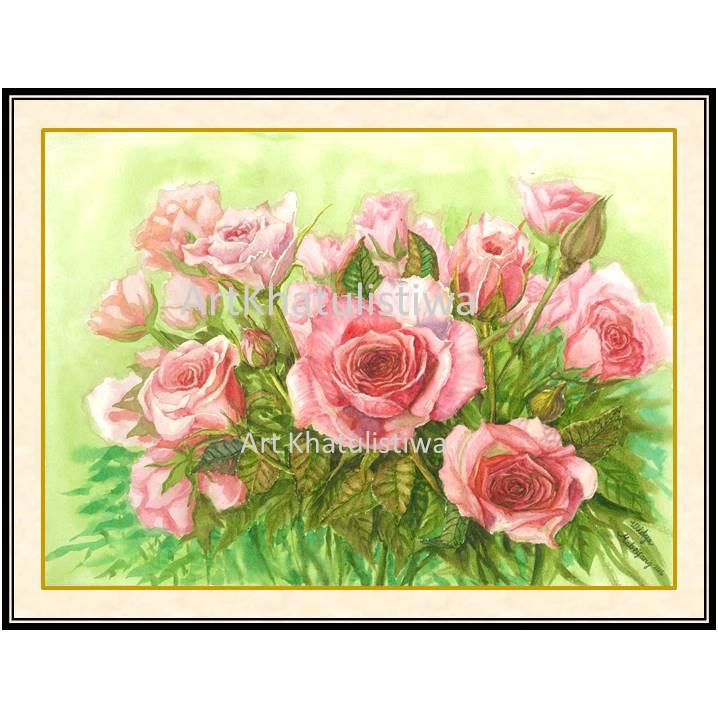 jual lukisan surabaya mawar 4011-1