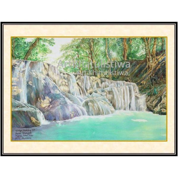 galeri online surabaya lukisan air terjun oenesu NTT indonesia B102-1