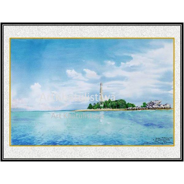 jual lukisan online pulau lengkuas belitung indonesia B208-1