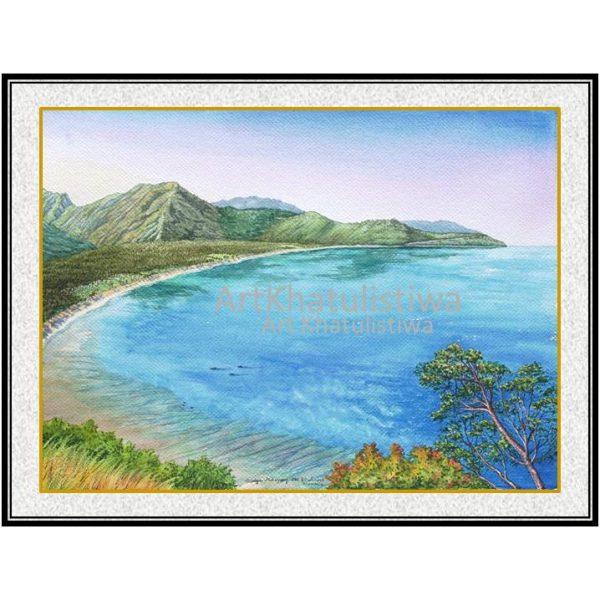 jual lukisan pemandangan alam indonesia gili lombok 2017-1