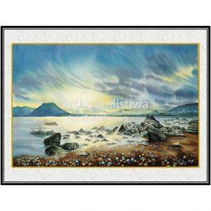 jual lukisan pemandangan pantai batu biru ende flores indonesia B202-1