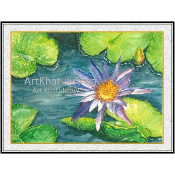 jual lukisan surabaya bunga teratai 4007-1D