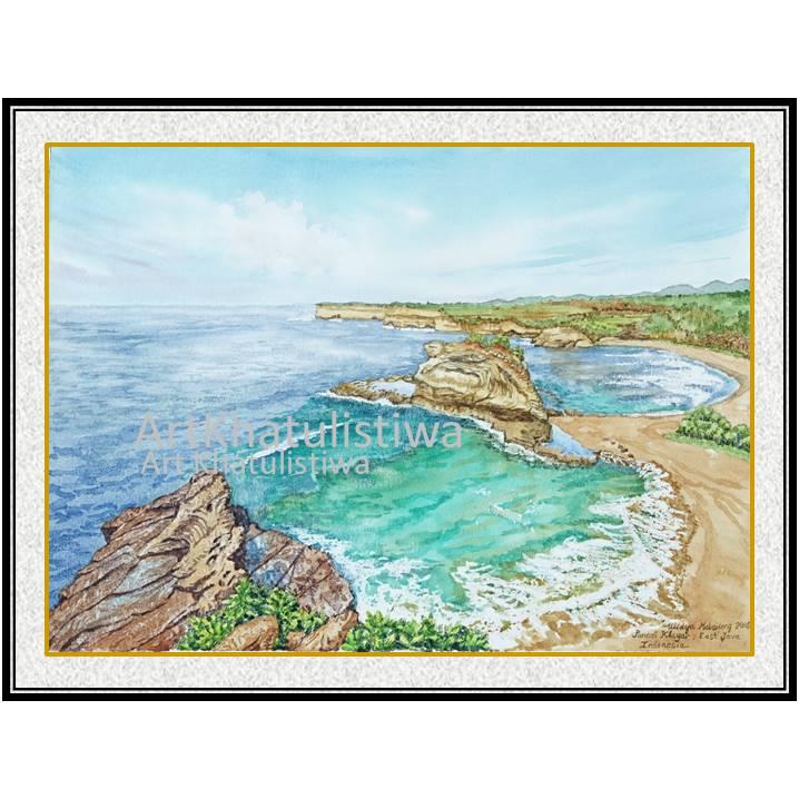 jual lukisan surabaya pantai klayar jawa timur indonesia 2003-1